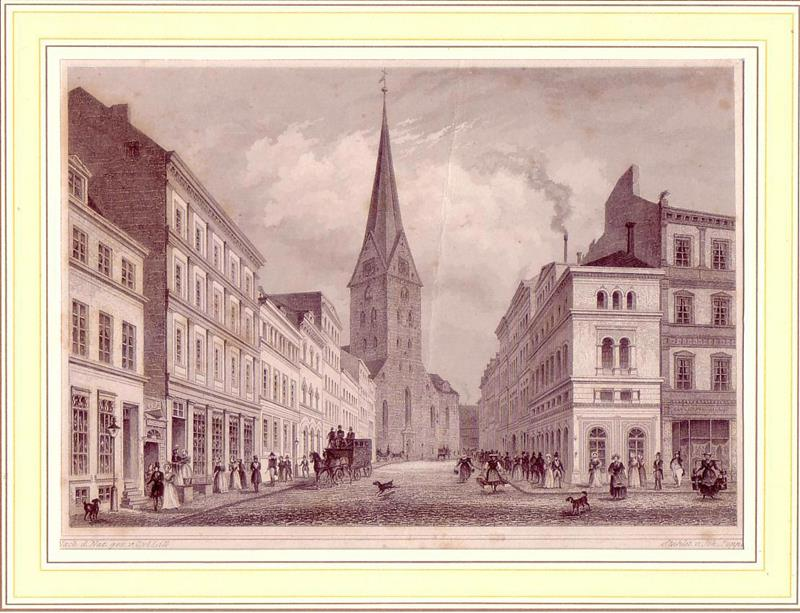 Die Bergstrasse und die St. Petri-Kirche in Hamburg. Nach der Natur gezeichnet von Carl Lill. Stahlstichansicht von Johann Poppel.