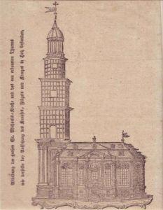 Abbildung der großen St. Michaelis-Kirche und des neu erbaueten Thurms, wie der selbe bey Aufsetzung des Knopfes, Flügels und Kreuzes in Holz bestanden. Holzschnitt.