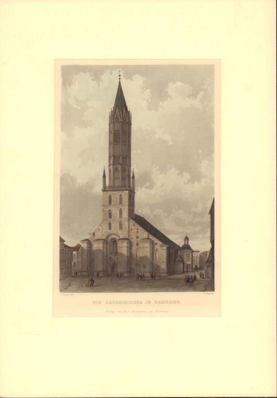 """Die Jacobikirche in Hamburg. Gestochen von J. Gray nach C. Laeisz, aus """"Hamburg und seine Umgebungen im 19ten Jahrhundert""""."""