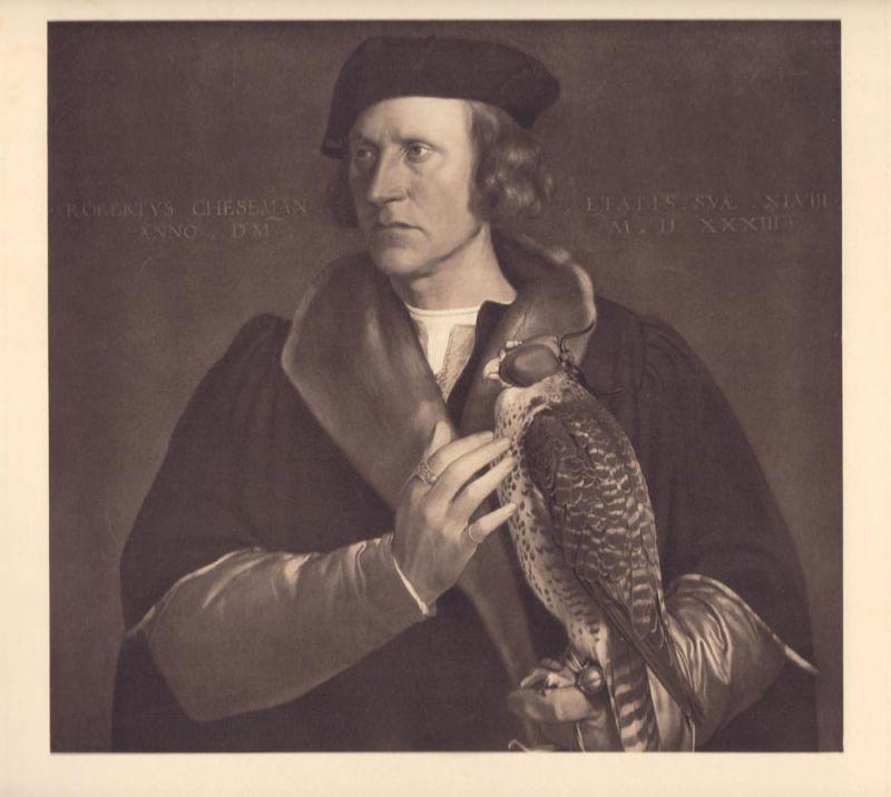 [Der Falkner Robert Cheesemann]. Portrait. Braungetönter Kupfertiefdruck nach dem Gemälde von Hans Holbein d. J. aus dem Jahr 1533.