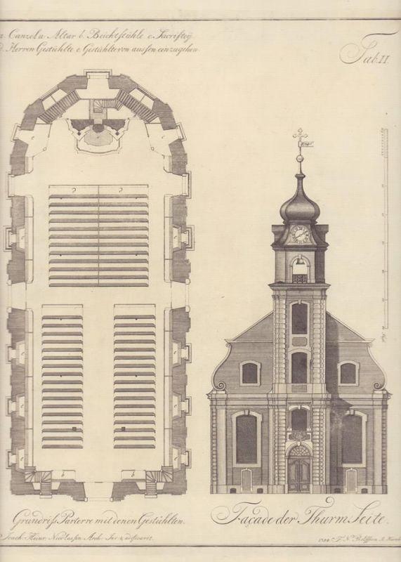 St. Michaelis Kirche, Hamburg um 1754. Konvolut von 6 Original-Kupferstichen von F. N. Rolffsen nach Joach. Heinr. Nicolassen.