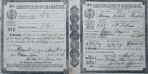 Certificate of character / Certificate of discharge. Vordruck des britischen Marine Departments.