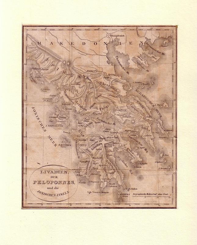 Livadien, der Peloponnes und die Jonischen Inseln. Stahlstich.
