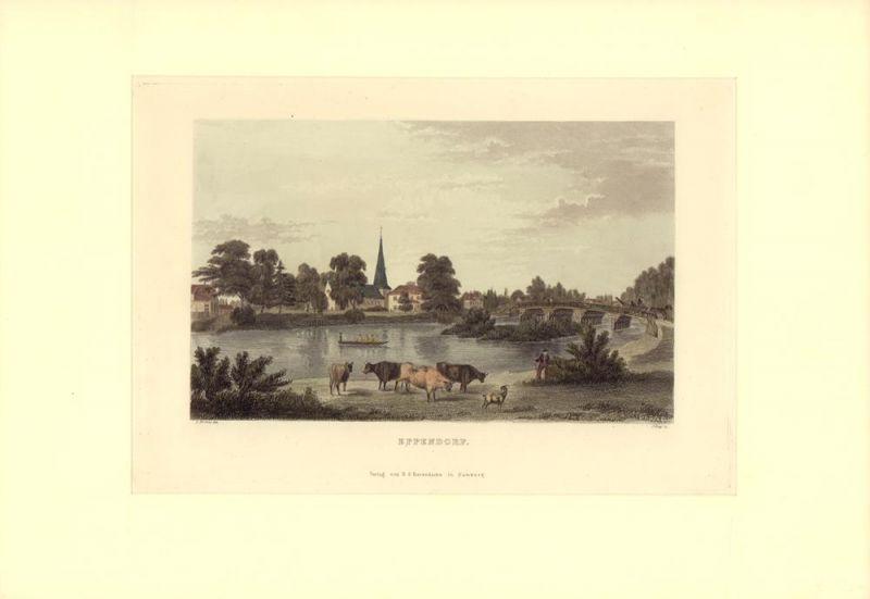 """Eppendorf. Gestochen von J. Gray nach L. Mertens [aus """"Hamburg und seine Umgebungen im 19ten Jahrhundert""""]."""