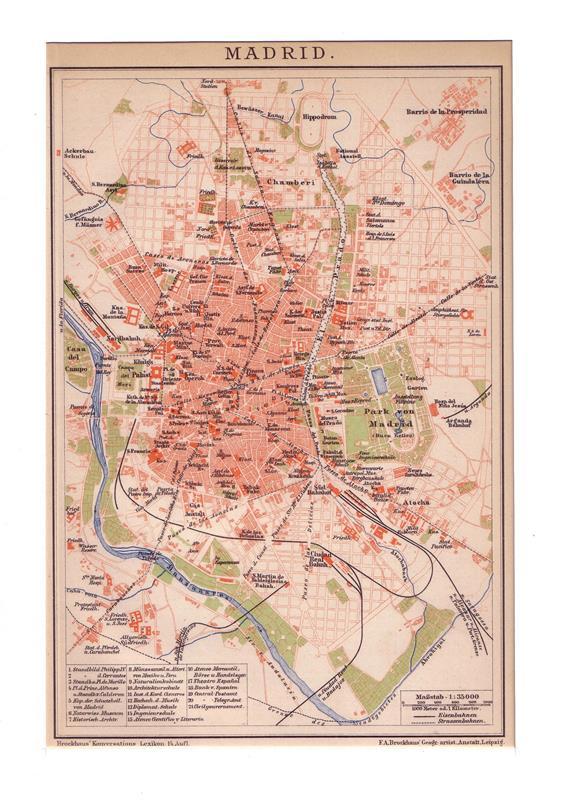 Madrid. Stadtplan im Maßstab 1: 35.500. Farbige Lithographie.