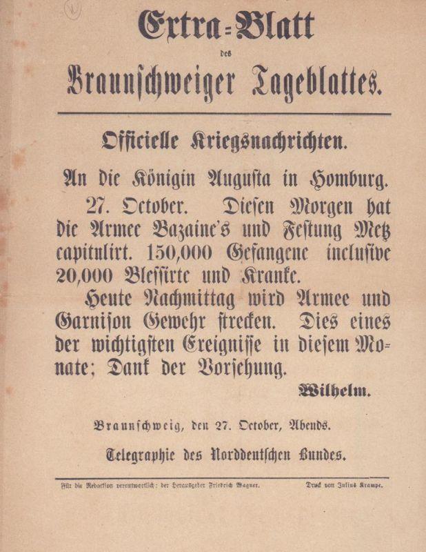 Extra-Blatt des Braunschweiger Tageblattes. Officielle Kriegsnachrichten.