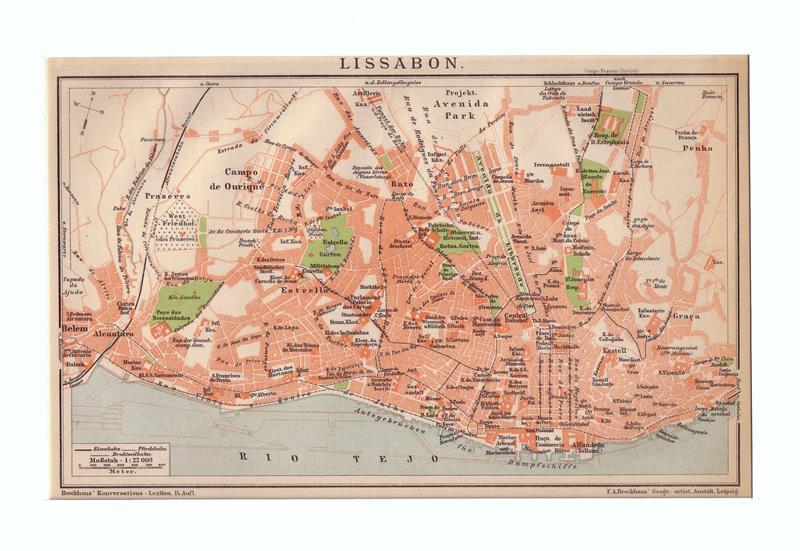 Lissabon. Stadtplan im Maßstab 1: 22.000. Farbige Lithographie.