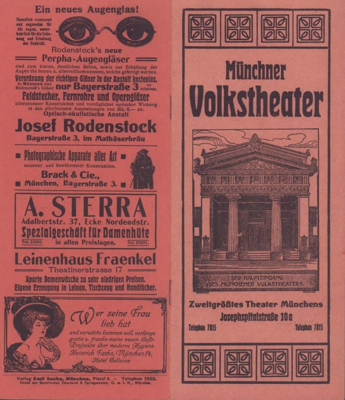 """Münchner Volkstheater. (Programmheft). Mittwoch, den 11. November 1908. Zum 11. Male: """"Lieselott'"""". Lustspiel in 4 Aufzügen von Heinrich Stobitzer."""