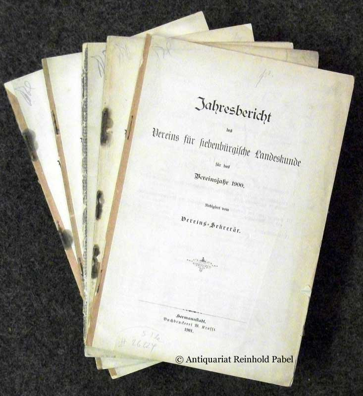 Jahresbericht des Vereins für siebenbürgische Landeskunde für das Vereinsjahr... KONVOLUT von 5 Heften ([JG. 1900]; [JG. 1901]; [JG. 1902]; [JG. 1904]; [JG. 1914]).