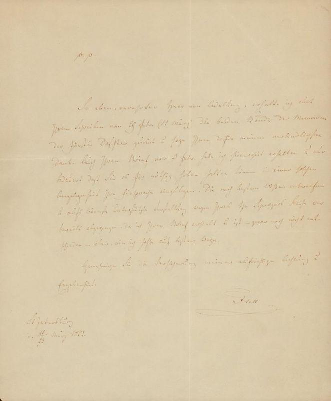 [Adelung, Nikolai (Michael Fedorovic) von]. -. Handgeschriebener Brief mit Unterschrift (unleserlich). St. Petersburg d. 11. / 23. März 1852.