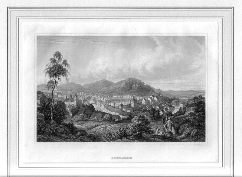 [Karlsbad - Karlovy Vary]. Carlsbad. Stahlstichansicht von G. und B. [Bernhard] Metzeroth.