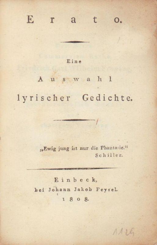 [Petri, Philipp August (Hrsg.)]. Erato. Eine Auswahl lyrischer Gedichte.