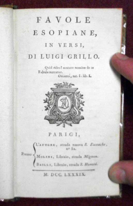 Favole Esopiane, in versi, di Luigi Grillo.