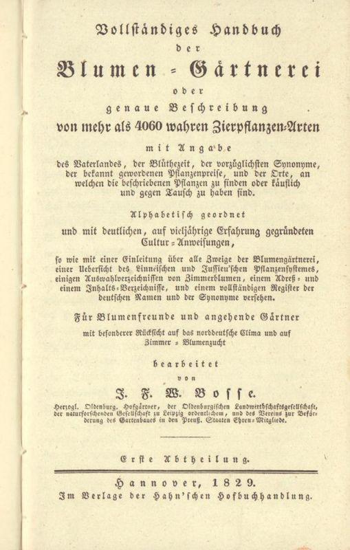 Vollständiges Handbuch Der Blumen Gärtnerei Oder Genaue Beschreibung