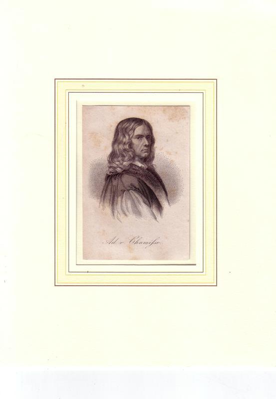 Chamisso, Adelbert von. -. PORTRAIT Adelbert von Chamisso. (1781 auf Schloß Boncourt, Châlons-en-Champagne Frankreich - 1838 Berlin, Naturforscher und Dichter). Brustbild im Halbprofil. Stahlstich.
