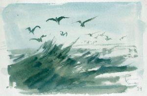 Wellenstudie mit gleitenden Möwen. Aquarell, u. r. signiert u. datiert, verso beschrieben.