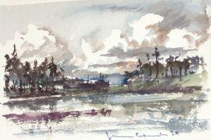 Blick über einen ruhigen Waldsee auf eine in bewegte Regenwolken ragende Kiefernkulisse. Aquarell, signiert u. datiert, verso beschrieben.
