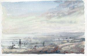 Blick über das Wattenmeer. Aquarell, u. l. signiert u. datiert.