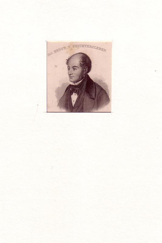 PORTRAIT Ernst von Feuchtersleben. (1806 Wien - 1849 ebda., österreichischer Popularphilosoph, Arzt, Lyriker u. Essayist). Schulterstück im Halbprofil. Stahlstich.