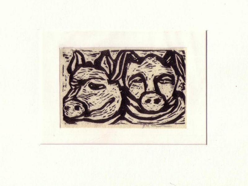 Fitzgibbon, Brian. Zwei Schweinsköpfe. Holzschnitt auf Japan.