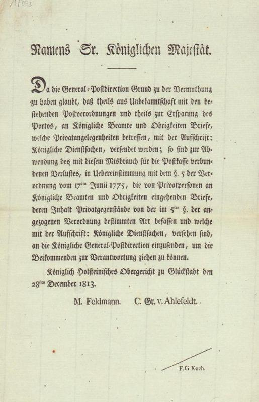 Friedrich VI., König von Dänemark. [Mandat betreffs Bekämpfung mißbräuchlicher Freimachung von an behördliche Stellen addressierte Schreiben].