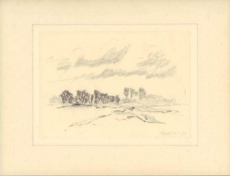 [Norddeutsche Knicklandschaft]. Bleistiftzeichnung, vom Künstler signiert u. datiert.