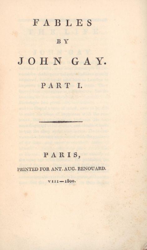 Gay, John. Fables. 2 parts (in 1 vol.).