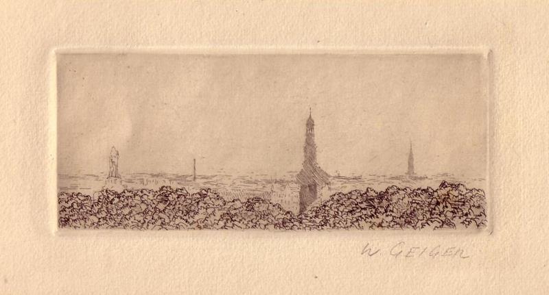 [Blick auf Hamburg]. Original-Radierung, im weißen Rand mit Bleistift bezeichnet W. Geiger.