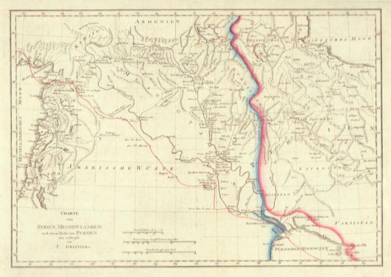 Griffith, John. Charte von Syrien, Mesopotamine, und einem Theile von Persien. neu entworfen von J. Griffith. Grenzkolorierte Kupferstich-Karte.
