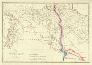 Charte von Syrien, Mesopotamine, und einem Theile von Persien. neu entworfen von J. Griffith. Grenzkolorierte Kupferstich-Karte.
