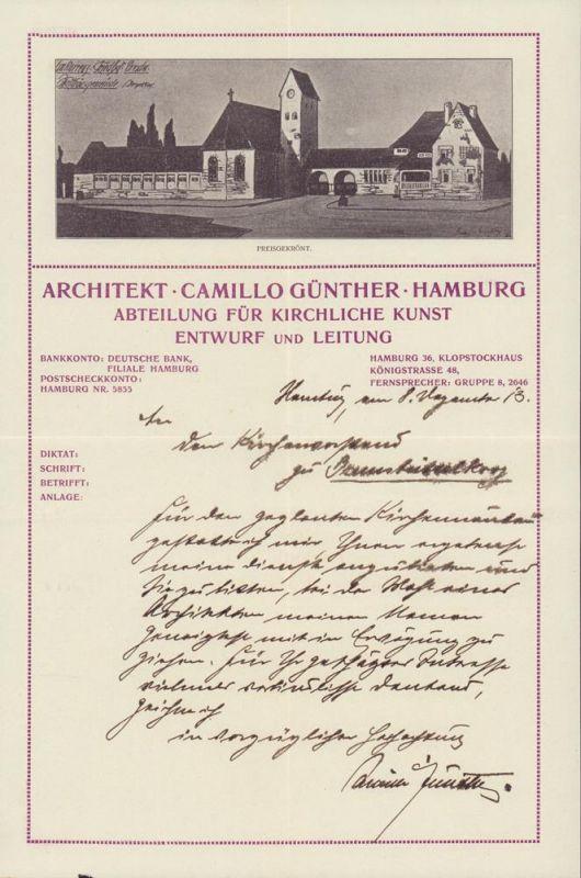 Günther, Camillo. Konvolut zum Hamburger Architekten Camillo Günther. 1 handschriftlicher Brief auf gestaltetem Briefbogen und 21 Sonderdrucke, Abbildungen von geplanten und ausgeführten Bauten, geduckten Werbekarten.
