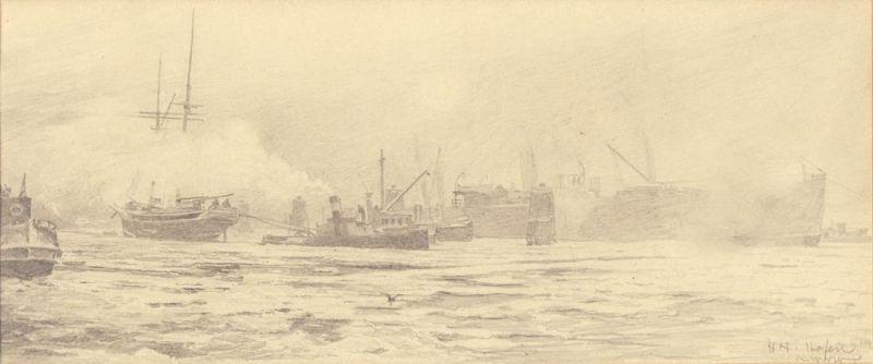 Hafen im Winter. Bleistiftzeichnung von Hermann Haase, unten rechts im Bild monogrammiert u. bezeichnet.
