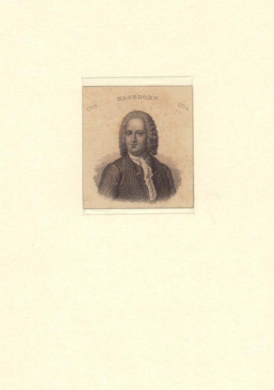 PORTRAIT Friedrich von Hagedorn. (1708 Hamburg - 1754 ebda., Dichter). Schulterstück im Dreiviertelprofil. Stahlstich.