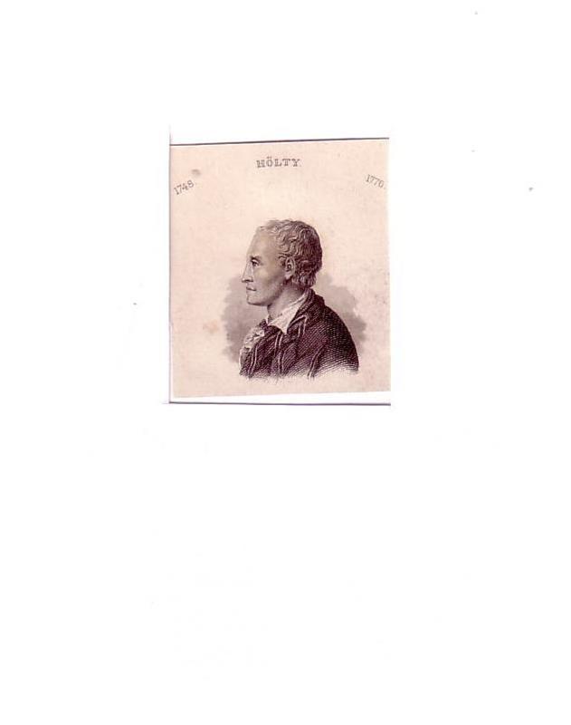 PORTRAIT Hölty. (1748 Mariensee - 1776 Hannover, deutscher Dichter und Übersetzer). Schulterstück en profil. Stahlstich.