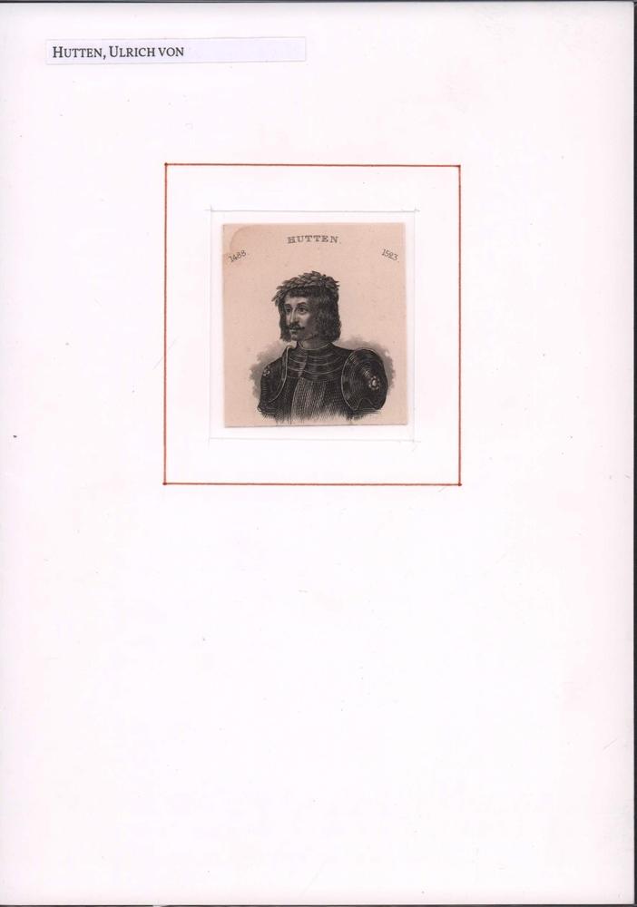Hutten, Ulrich von. -. PORTRAIT Ulrich von Hutten. (1488 Burg Steckelberg - 1523 Ufenau, Publizist, Politiker, Reichsritter). Schulterstück im Halbprofil. Stahlstich.