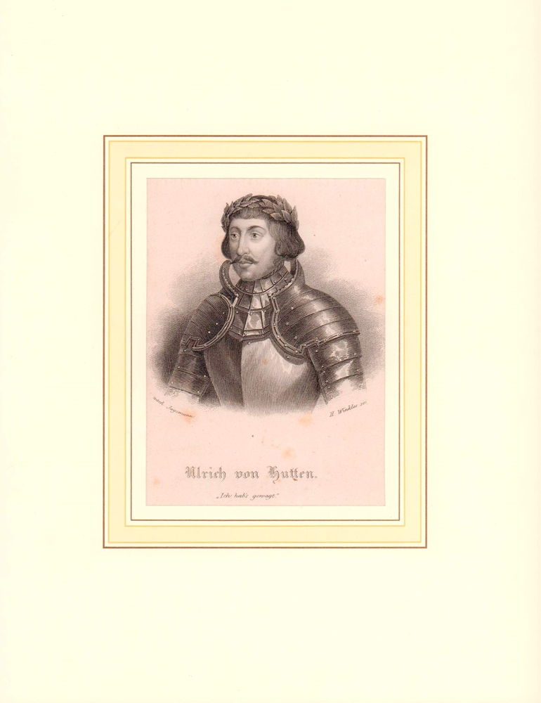 Hutten, Ulrich von. -. PORTRAIT Ulrich von Hutten. (1488 Burg Steckelberg - 1523 Ufenau, Publizist, Politiker, Reichsritter). Schulterstück im Dreiviertelprofil. Stahlstich von Henry Winkles nach Jagemann.