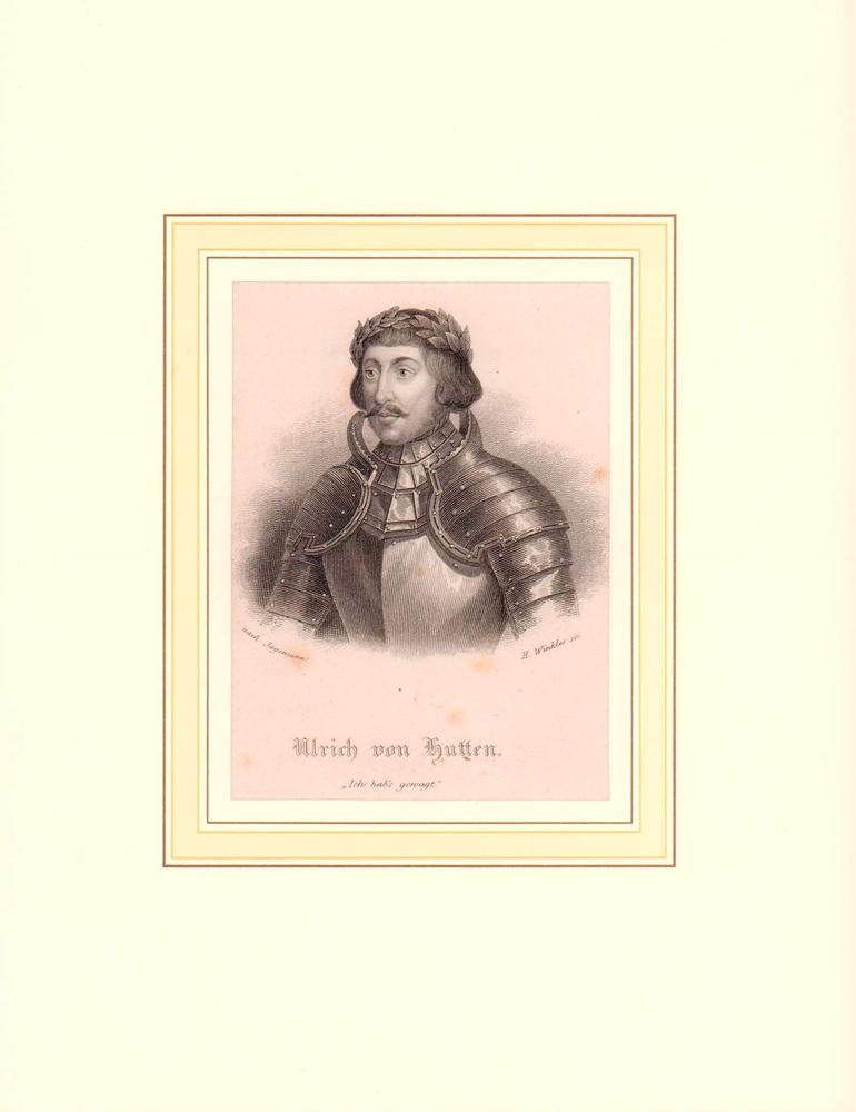 PORTRAIT Ulrich von Hutten. (1488 Burg Steckelberg - 1523 Ufenau, Publizist, Politiker, Reichsritter). Schulterstück im Dreiviertelprofil. Stahlstich von Henry Winkles nach Jagemann.