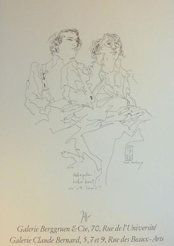 "Janssen, Horst. ""Hallo peter! hallo horst! wo ist david?"" Nach Hockney. Galerie Berggruen & Cie, 70, Rue de l'Université / Galerie Claude Bernard, 5, 7 et 9, Rue des Beaux-Arts."