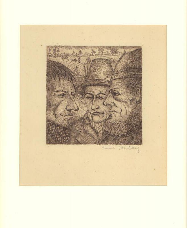 Karberg, Bruno. [Drei Männer im Gespräch]. Radierung. Signiert.