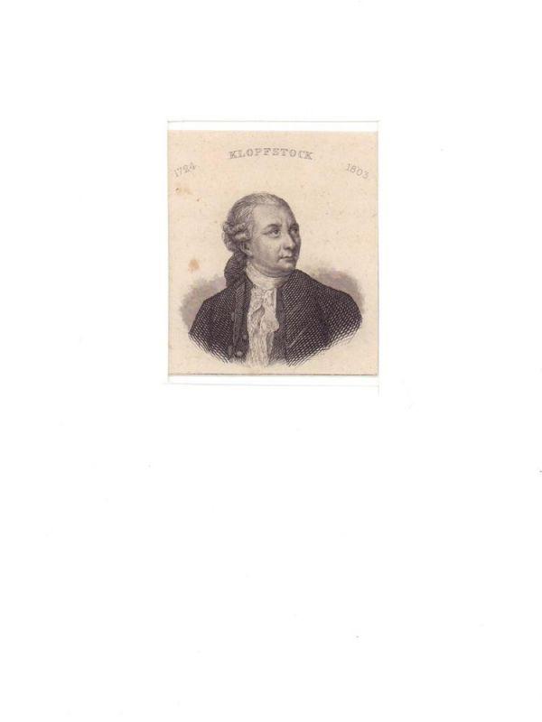 Klopstock, Friedrich Gottlieb. -. PORTRAIT Friedrich Gottlieb Klopstock. (1724 Quedlinburg - 1803 Hamburg, Dichter). Schulterstück im Halbprofil. Stahlstich.