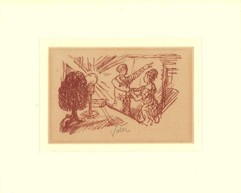 [Mann weist einer Frau die Tür]. Lithographie in Rötelfarbe nach einer Federzeichnung, auf getöntem Bütten. Signiert.