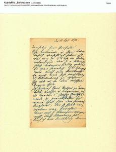 Eigenhändiger Brief mit Unterschrift. Mit blauer Tinte in Kurrentschrift geschrieben. München 1872.