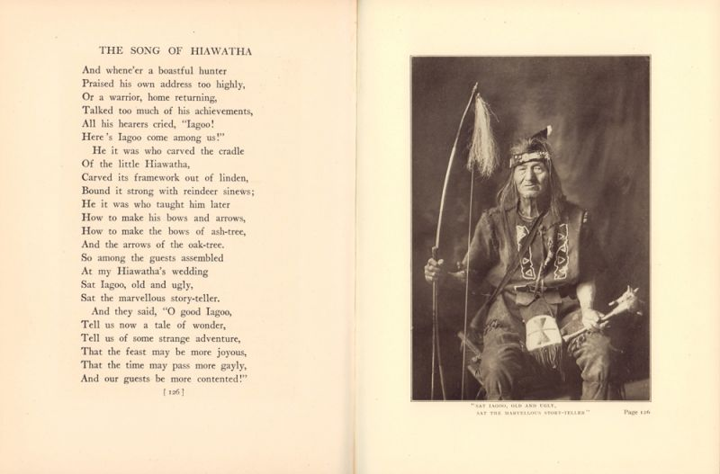 Longfellow, Henry Wadsworth. The Song of Hiawatha. (Foreword by Frank W. Gunsaulus. Illustrations of Wa-ya-ga-mug and the Indian players from photographs by Grace C. Horn). (Players' edition).
