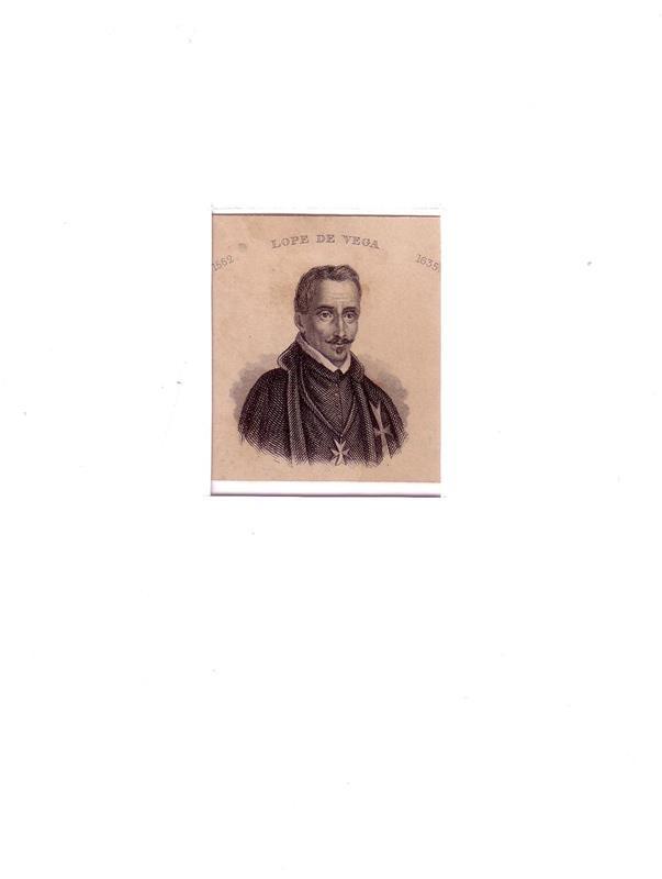 PORTRAIT Lope de Vega. (1562 Madrid - 1635 ebda.; spanischer Dichter). Schulterstück im Dreiviertelprofil. Stahlstich.
