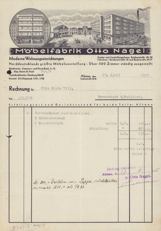 Möbelfabrik Otto Nagel, [Hamburg], Moderne Wohnungseinrichtungen. Rechnung für Frau Paula Will, Duwenstedt (sic!) b/Wohldorf.