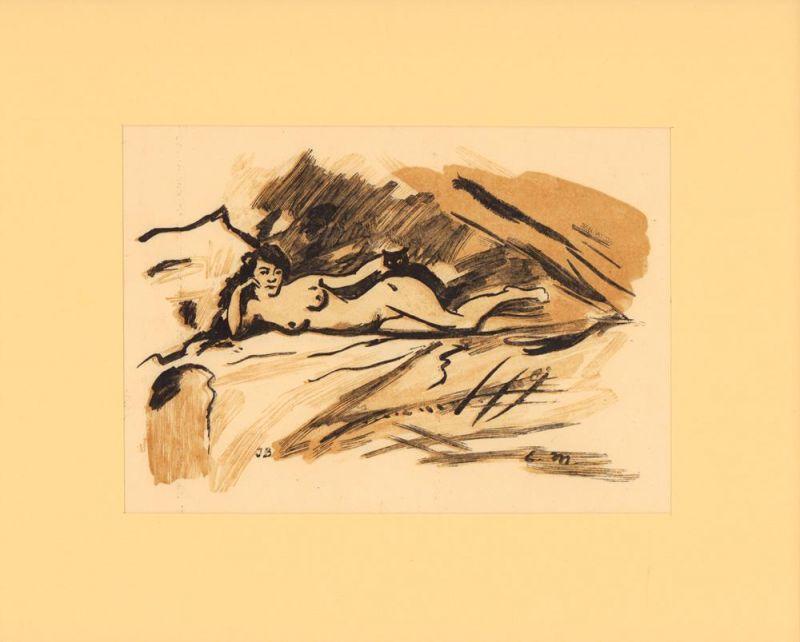 Manet, Edouard. Olympia. Farbholzschnitt (von Alfred Prunaire) nach der Studie von Manet.