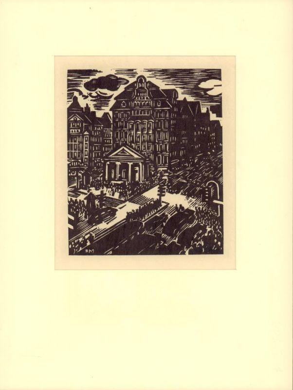 "Masereel, Frans. Mönckebergstraße. Original-Holzschnitt aus ""Das Gesicht Hamburgs""."