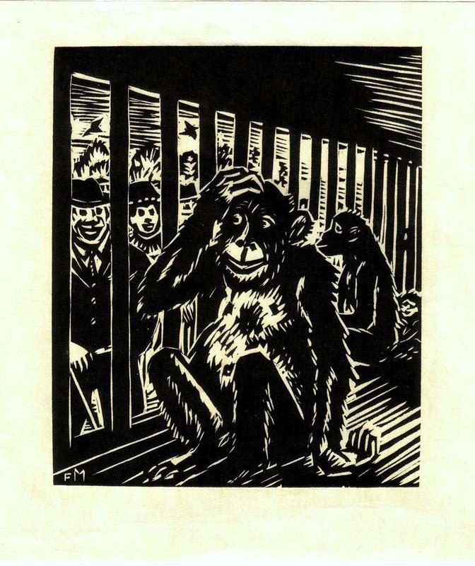 """Masereel, Frans. Schimpansen bei Hagenbeck. Original-Holzschnitt aus """"Das Gesicht Hamburgs""""."""