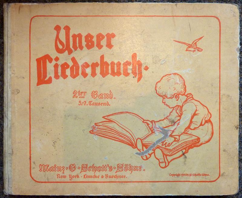 Unser Liederbuch. [BAND 2 (von 2) apart]. Die beliebtesten Kinderlieder, ausgewählt von Friederike Merck, mit Bildern von Ludwig von Zumbusch, für Kinderstimmen gesetzt von Fritz Volbach. (5.-7. Tsd.).