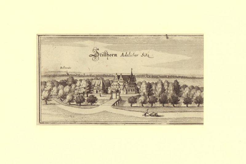 Merian, Matthäus. -. Stillhorn [recte: Wilhelmsburg]. Adelicher Sitz. Kupferstich von Merian.